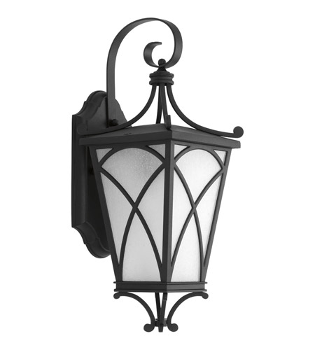 Progress P6080-31 Cadence 1 Light 16 inch Black Outdoor Wall Lantern in Etched Seeded photo