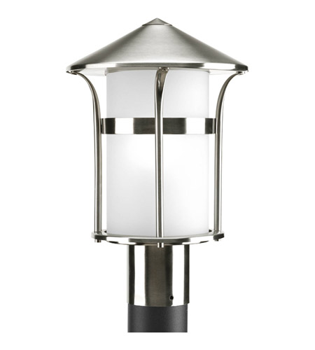 Progress P6406-135 Welcome 1 Light 14 inch Stainless Steel Outdoor Post Lantern in Etched Opal photo