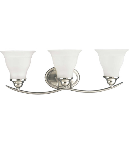 Progress P3192 09 Trinity 3 Light 24 Inch Brushed Nickel Bath Vanity Wall Light In Bulbs Not Included Standard
