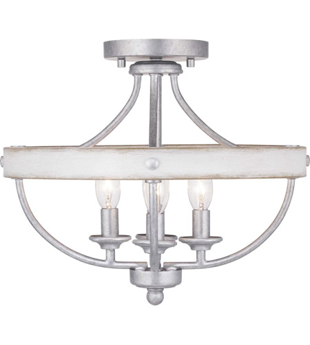 Gulliver 4 Light 15 Inch Galvanized Finish Semi Flush Mount Ceiling