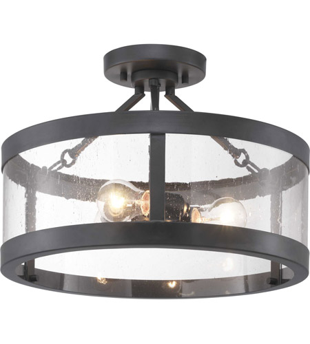 Gresham 3 Light 18 Inch Graphite Semi Flush Mount Ceiling Pendant Convertible Design Series