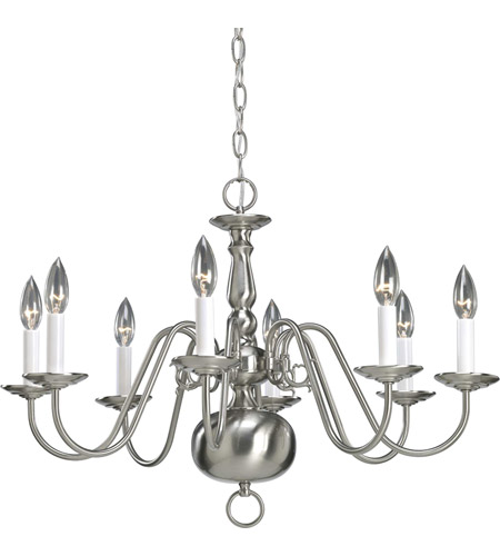 Progress P4357-09 Americana 8 Light 26 inch Brushed Nickel Chandelier Ceiling Light photo