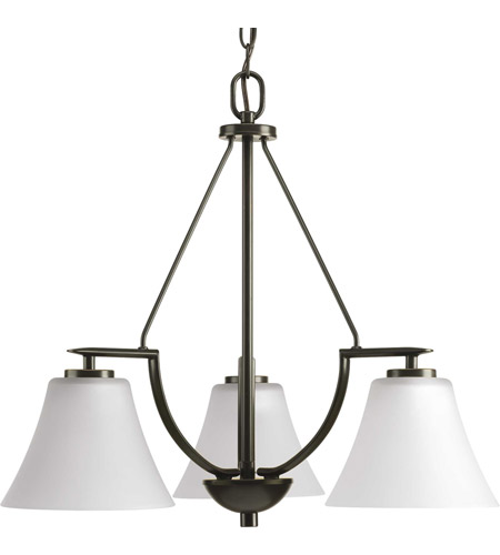 Progress P4621-20W Bravo 3 Light 23 inch Antique Bronze Chandelier Ceiling Light in Bulbs Not Included, Etched photo