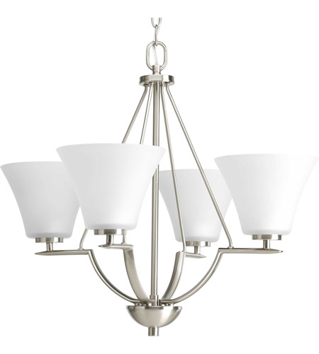 Progress P4622-09 Bravo 4 Light 24 inch Brushed Nickel Chandelier Ceiling Light in Etched photo