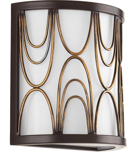 Progress Lighting Spirit 1-Light Antique Bronze Bath Sconce with Glass Shade