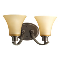 Joy 2 Light 14 inch Antique Bronze Bath Vanity Wall Light in Etched Light Umber