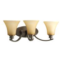 Joy 3 Light 22 inch Antique Bronze Bath Vanity Wall Light in Etched Light Umber