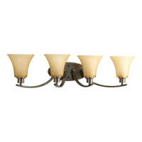 Joy 4 Light 30 inch Antique Bronze Bath Vanity Wall Light in Etched Light Umber