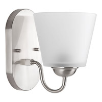 Progress Lighting Arden 1 Light Bath Vanity in Brushed Nickel with Etched Glass P2127-09