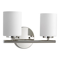 Progress Lighting Replay 2 Light Bath Vanity in Polished Nickel with Etched Painted White Glass P2158-104