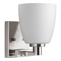 Progress Lighting Fleet 1 Light Bath Vanity in Brushed Nickel with Etched Opal Glass P2165-09