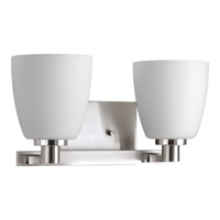 Progress Lighting Fleet 2 Light Bath Vanity in Brushed Nickel with Etched Opal Glass P2166-09