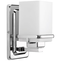 Metric 1 Light 5 inch Polished Chrome Bath Vanity Wall Light, Etched and Painted White Inside Glass