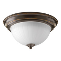Signature LED 11 inch Antique Bronze Flush Mount Ceiling Light in Etched Ribbed