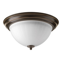 Signature LED 13 inch Antique Bronze Flush Mount Ceiling Light in Etched Ribbed