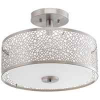 Mingle LED 14 inch Brushed Nickel Semi-Flush Mount Ceiling Light, Etched Parchment Glass