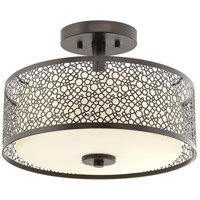 Mingle LED 14 inch Antique Bronze Semi-Flush Mount Ceiling Light, Etched Parchment Glass