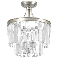 Glimmer 3 Light 13 inch Silver Ridge Semi-Flush Convertible Pendant Ceiling Light, Clear Glass