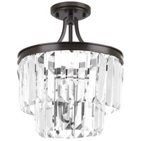 Glimmer 3 Light 13 inch Antique Bronze Semi-Flush Convertible Pendant Ceiling Light, Clear Glass
