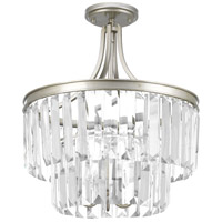 Glimmer 3 Light 16 inch Silver Ridge Semi-Flush Convertible Pendant Ceiling Light, Design Series