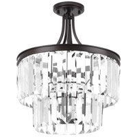 Glimmer 3 Light 16 inch Antique Bronze Semi-Flush Convertible Pendant Ceiling Light, Clear Glass