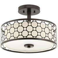 Mingle LED 14 inch Antique Bronze Semi-Flush Mount Ceiling Light, Summer Linen, Etched Parchment Glass