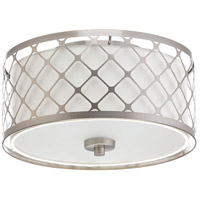 Mingle LED 11 inch Brushed Nickel Flush Mount Ceiling Light, Summer Linen, Etched Parchment Glass