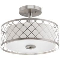 Mingle LED 14 inch Brushed Nickel Semi-Flush Mount Ceiling Light, Summer Linen, Etched Parchment Glass