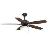 Progress P2552-80 Billows 52 inch Forged Black with Black/Toasted Oak Blades Ceiling Fan