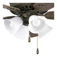 Progress Lighting Alabaster Glass 4 Light Fan Light Kit in Weathered Bronze P2616-46