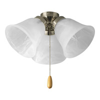 Universal 3 Light Brushed Nickel Fan Light Kit in Alabaster Glass