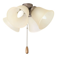 Air Pro 4 Light Pebbles Fan Light Kit in Light Umber Etched Glass