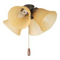 AirPro 4 Light Antique Bronze Fan Light Kit in Etched Light Topaz Glass