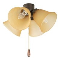 Progress P2643-20T AirPro 4 Light Antique Bronze Fan Light Kit in Etched Light Topaz Glass alternative photo thumbnail