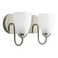 Progress P2707-09 Gather 2 Light 12 inch Brushed Nickel Bath Vanity Wall Light in Bulbs Not Included