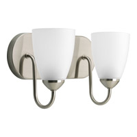 Gather 2 Light 12 inch Brushed Nickel Bath Vanity Wall Light in Bulbs Included, Fluorescent