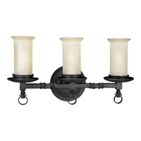 Santiago 3 Light 21 inch Forged Black Bath Vanity Wall Light