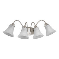 Progress Lighting Tally 4 Light Bath Vanity in Brushed Nickel with Etched White Linen Glass P2764-09