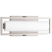 Frame LED 12 inch Brushed Nickel Bath Vanity Wall Light, Etched Opal Glass