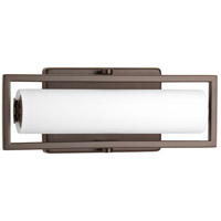 Frame LED 12 inch Architectural Bronze Bath Vanity Wall Light, Etched Opal Glass
