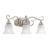 Kensington 3 Light 24 inch Brushed Nickel Bath Vanity Wall Light in Swirl Etched Glass
