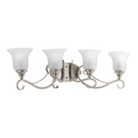 Kensington 4 Light 33 inch Brushed Nickel Bath Vanity Wall Light in Swirl Etched Glass