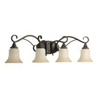 Progress P2786-77 Kensington 4 Light 33 inch Forged Bronze Bath Vanity Wall Light in Frosted Caramel Swirl