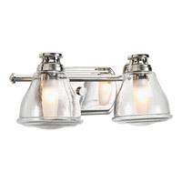 Progress P2811-15WB Academy 2 Light 14 inch Polished Chrome Bath Vanity Wall Light in Clear Seeded