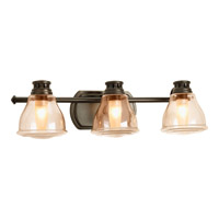 Academy 3 Light 22 inch Antique Bronze Bath Vanity Wall Light in Light Umber Seeded