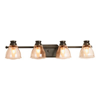 Academy 4 Light 30 inch Antique Bronze Bath Vanity Wall Light in Light Umber Seeded