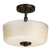 Alexa 2 Light 12 inch Antique Bronze Semi-Flush Ceiling Light