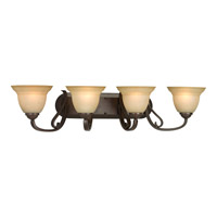Progress P2884-77 Torino 4 Light 34 inch Forged Bronze Bath Vanity Wall Light in Tea-Stained