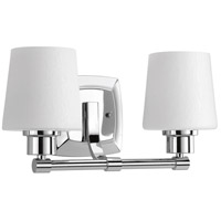 Progress P300017-015 Glance 2 Light 15 inch Polished Chrome Bath Vanity Wall Light, Design Series