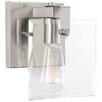 Progress P300105-009 Glayse 1 Light 7 inch Brushed Nickel Bath Vanity Wall Light Design Series